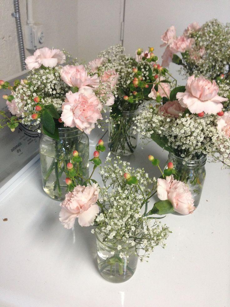 Mason Jars Pink Carnation Flower Centerpieces With Baby 39 S Breath Flower Centerpieces Wedding Diy Wedding Flower Centerpieces Diy Wedding Flowers