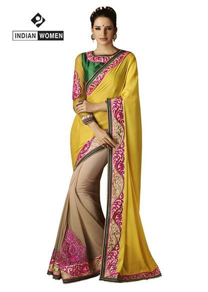 #Dazzling Yellow Saree !!  #Yellow Jacquard Saree designed with Resham Embroidery And Lace Border. As shown Green Bhagalpuri Blouse fabric is available.  INR : 2700 Only shop now @ http://goo.gl/bUAs3y
