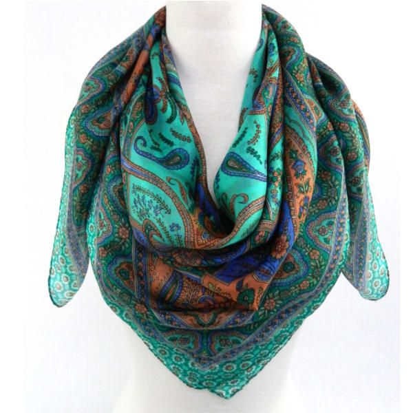 "Fabric Boutique - 774 N Pacific Hwy, Woodburn, Oregon - Jade, <p>40"" x 40"" 100% silk square scarf</p>"