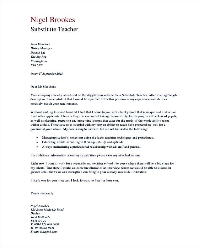 Cover Letter For Substitute Teacher