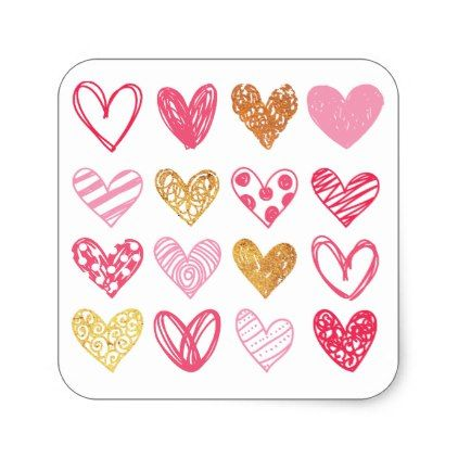 Hand Drawn Heart Pattern ID470 Square Sticker - gold gifts golden customize diy