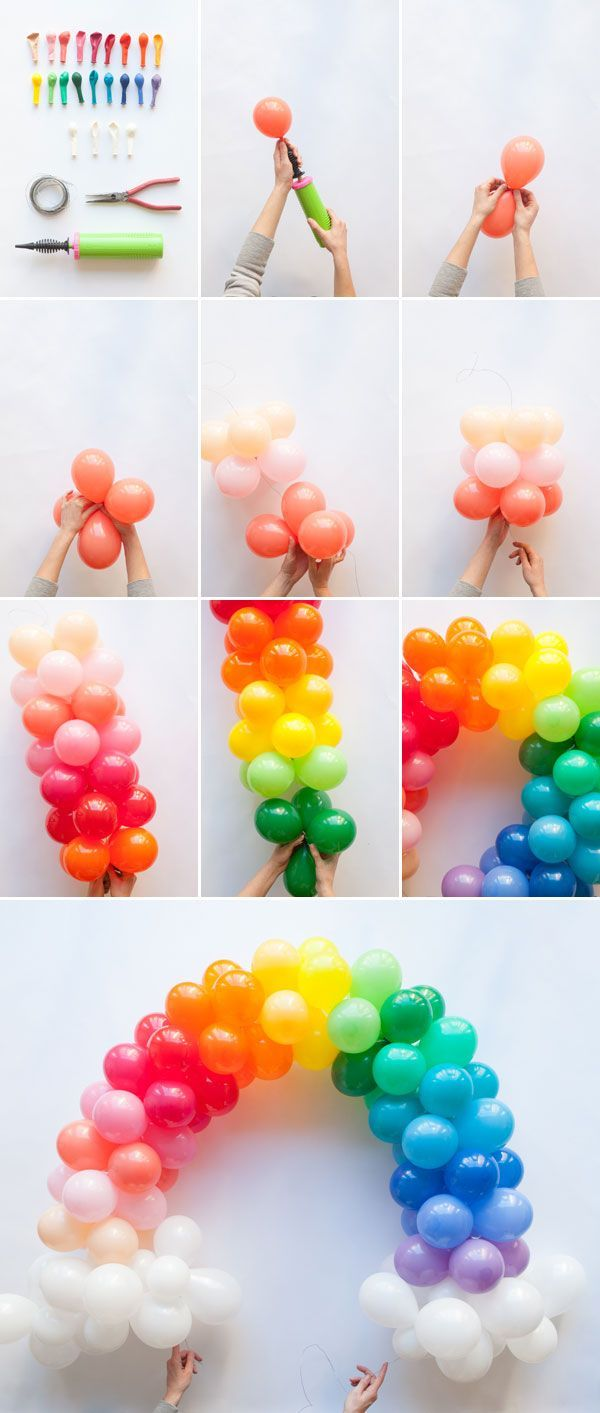 7 Ideas for Organising the Perfect Balloon and Pompon Party - Rainbow balloons, Balloon arch diy, Unicorn birthday parties, Rainbow birthday party, Rainbow balloon arch, Trolls birthday party - Balloons and parties belong together —you can't really have one without the other  That's why we want to show you a few ideas for decorating children's parties with balloons  It might seem clichéd but there are many ways to turn this classic children's party item around  This festive decoration inspo will bring out your happy, …