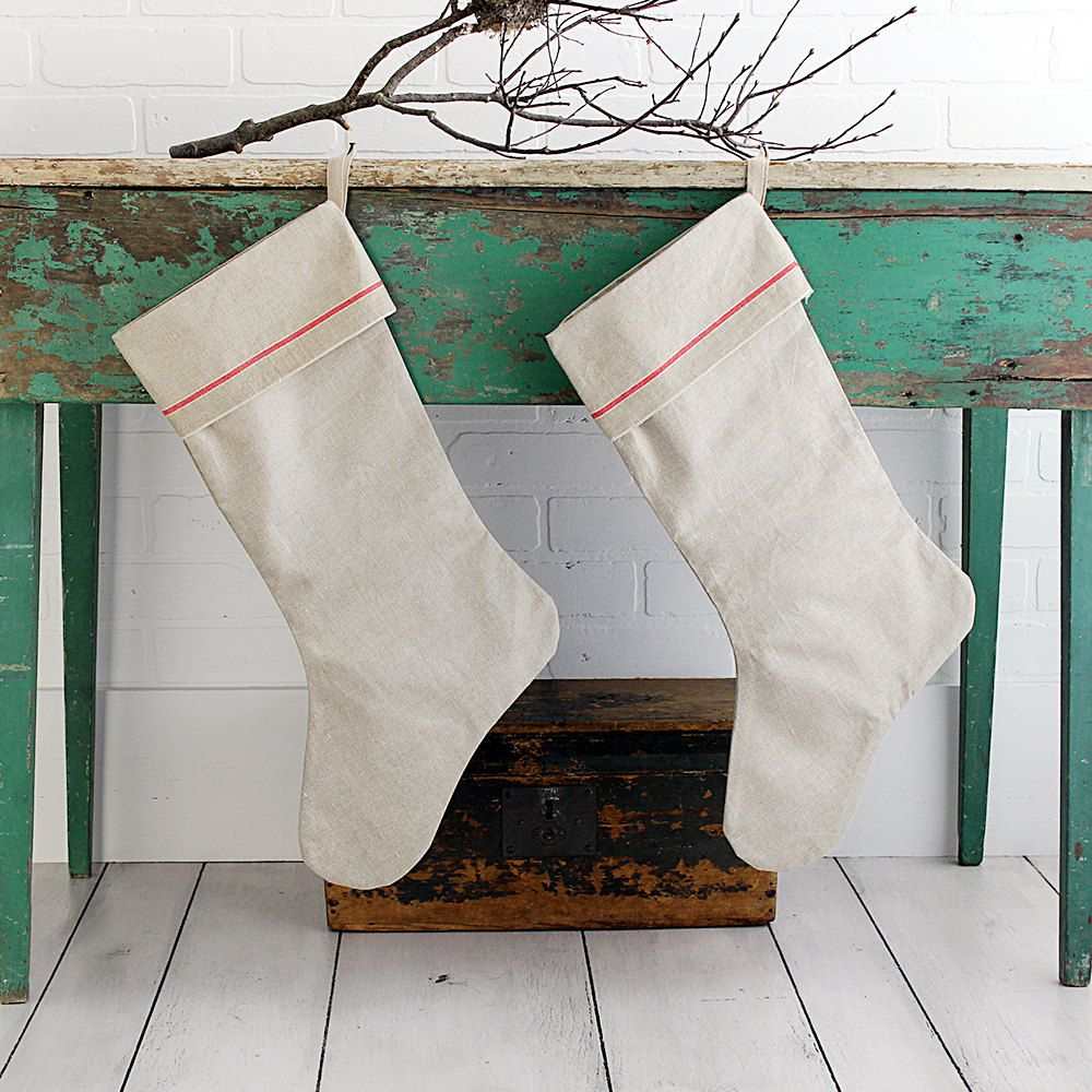 Christmas stocking made from vintage mangle cloth for Weihnachtsideen dekoration