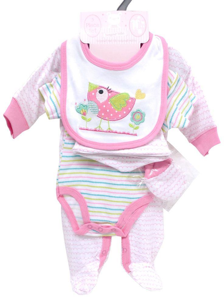 Bonjour Bebe Baby 5 Piece Outfit Set Sleepsuit Hat Bib Bodysuit Mitts Bebe Baby Baby Girl Clothes Girl Outfits