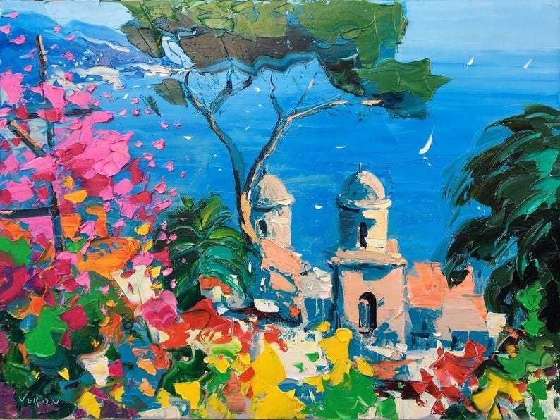 Gallery Ravello Villa Rufolo Painting on Canvas, Original Art, Italy Art, Seascape Painting, Amalfi Coast, Art for Living Room, Large Wall Art, Gift is free HD wallpaper.