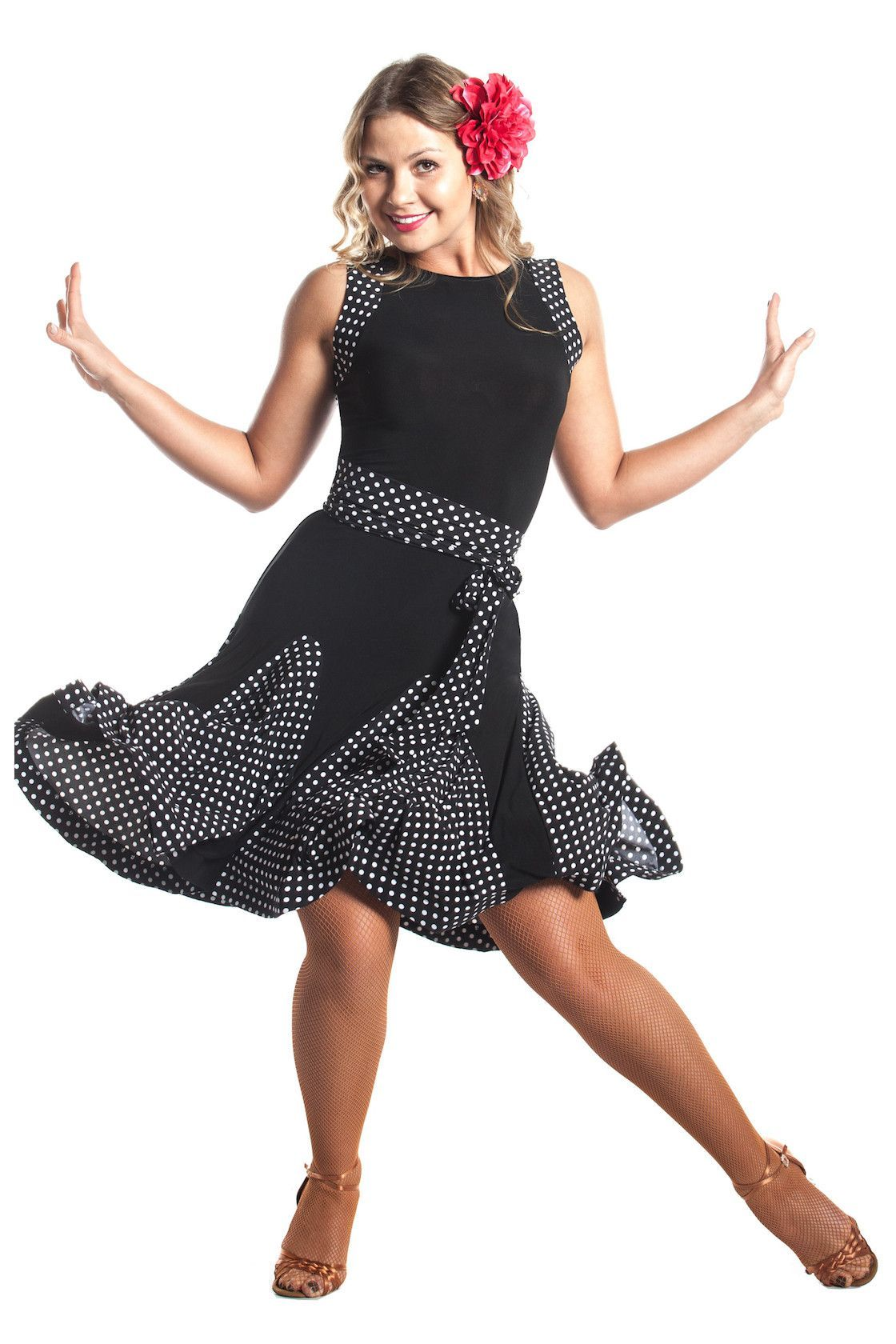3a9cfba9d42a0 Add a pop of polka dots to your wardrobe with this fun latin ballroom dance  dress. Sleeveless bodice features jewel neckline at the front and scoop at  the ...