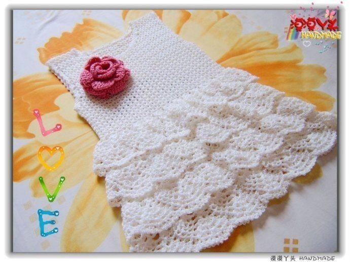 Mesh ruffles baby dress free crochet pattern in 2018 | Crochet ...