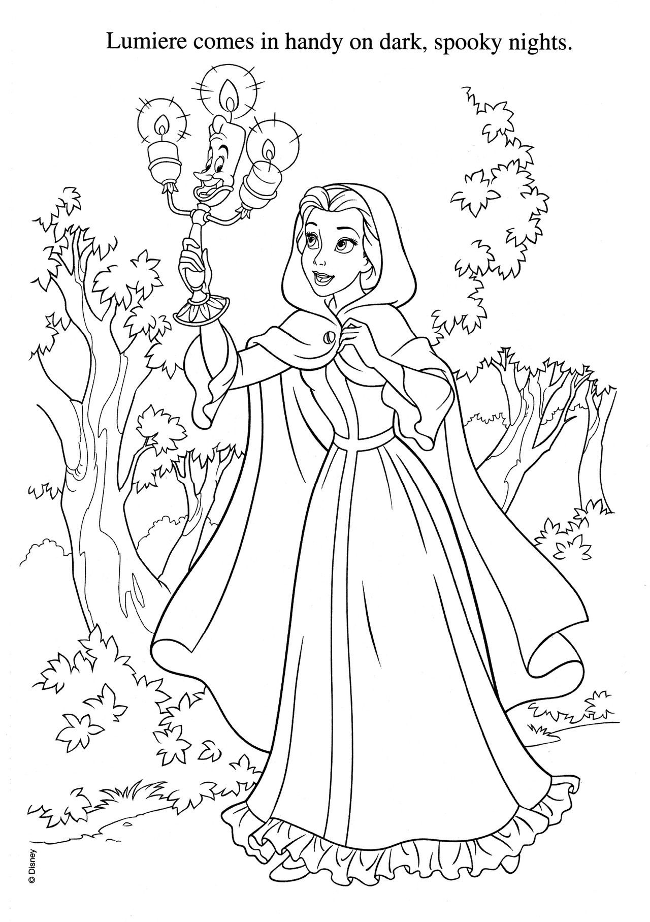 Lumiere Comes In Handy On Dark Coloring Pages