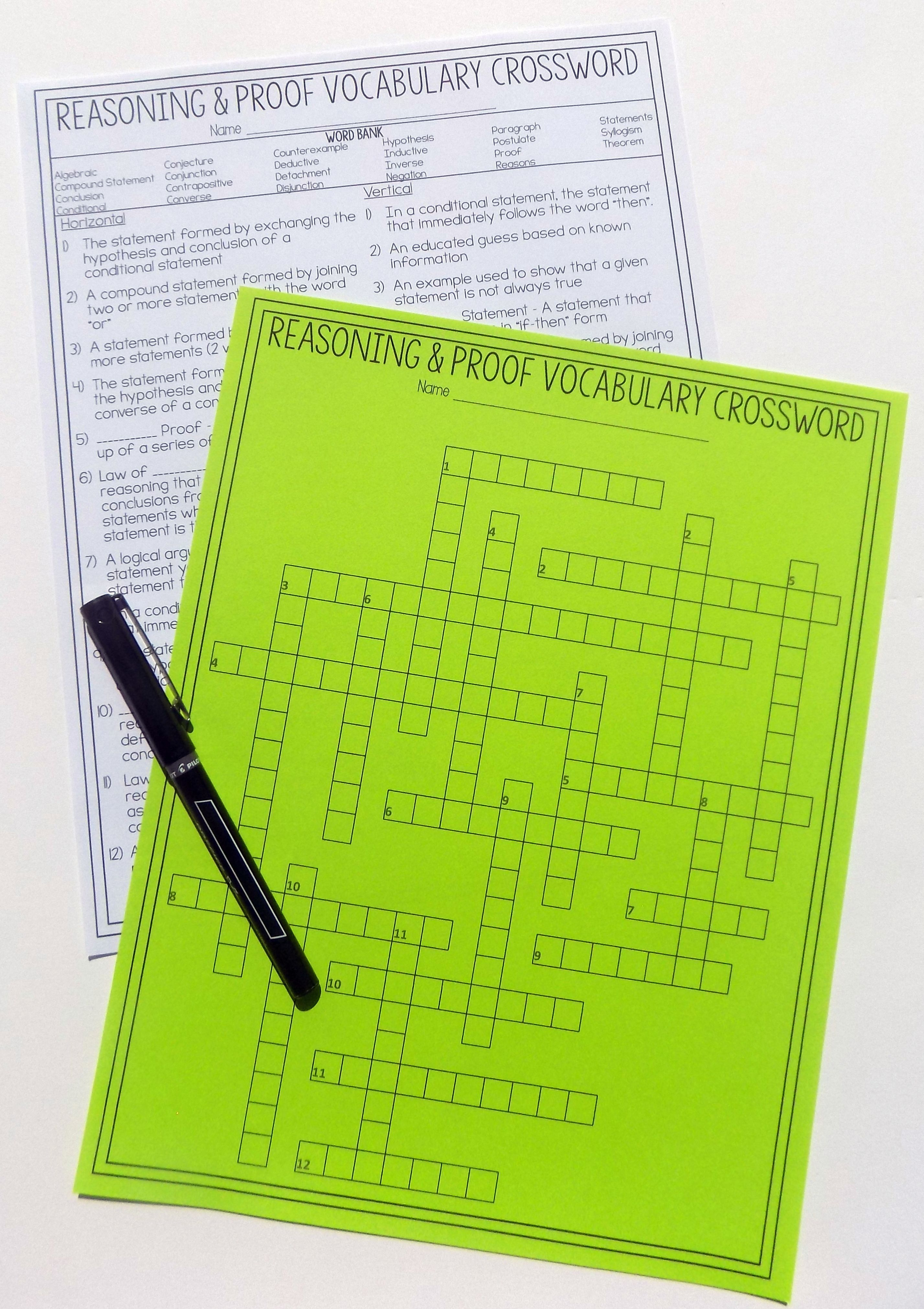 Geometry Chapter 2 Vocabulary Crossword - Reasoning & Proof | Pinterest