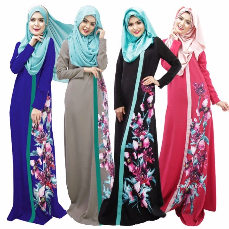 Boho Floral Print Ethnic Dress Muslim Long Sleeve Women Casual Robe Abaya Jilbab