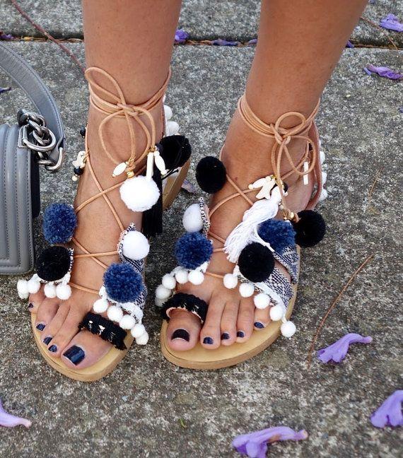 Boho sandals, Pom pom sandals, Handmade