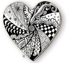 corazón del zentangle maraña
