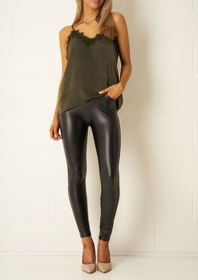ec7fe94444993 Womens Stretch Look Jeans Black Leather Pant in 2019 | Women Leather ...