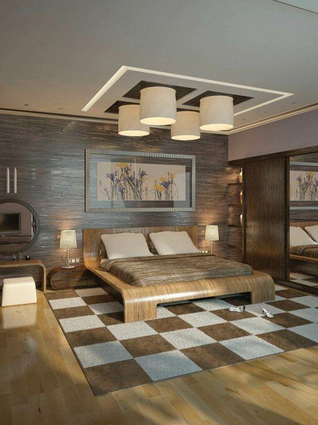 deckengestaltung moderne rustikal teppich schachbrett lampen holz ... - Wohnzimmer Lampen Rustikal