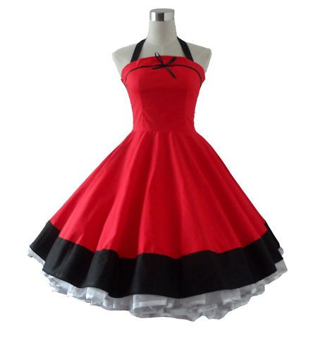 50s 60s Vintage Polka Dot Full Sweep Swing Rockabilly