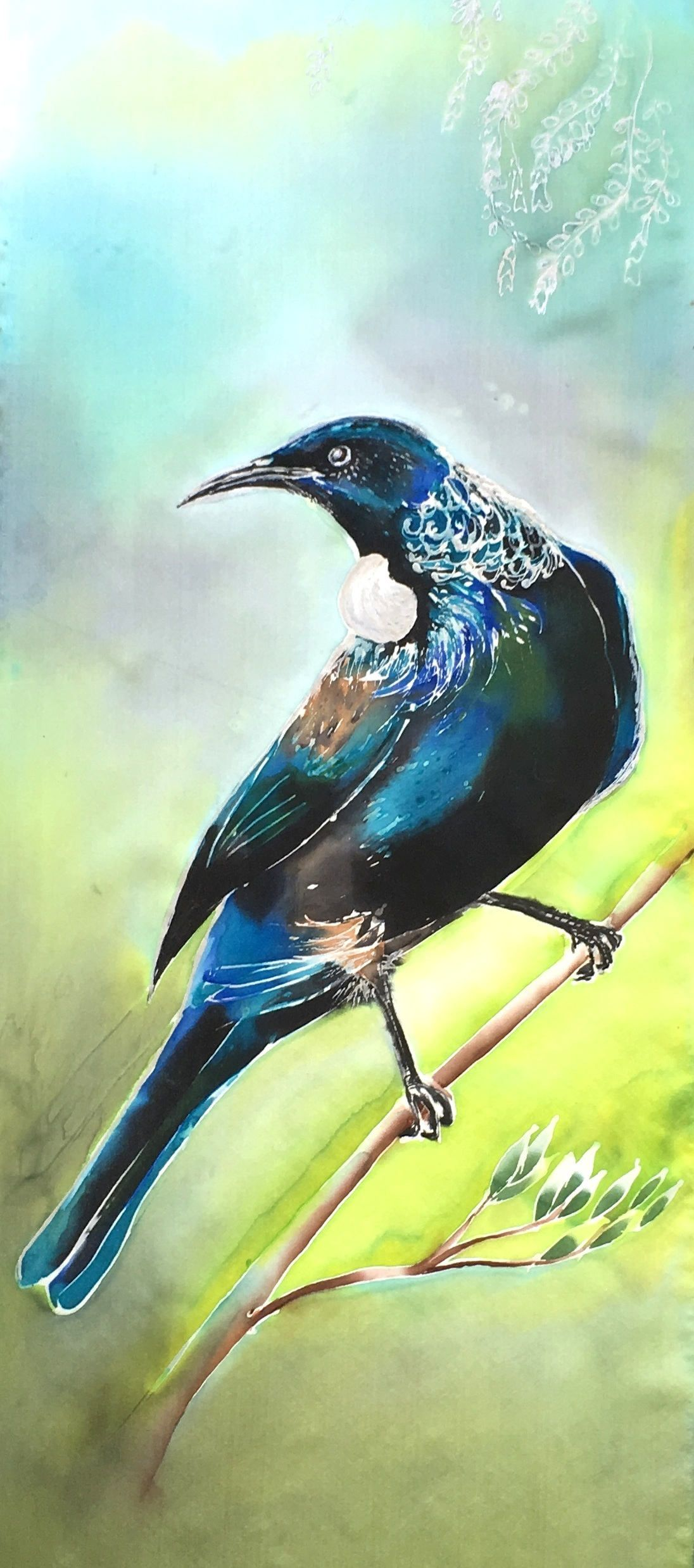 Outdoor wall art garden art new zealand tui bird print on