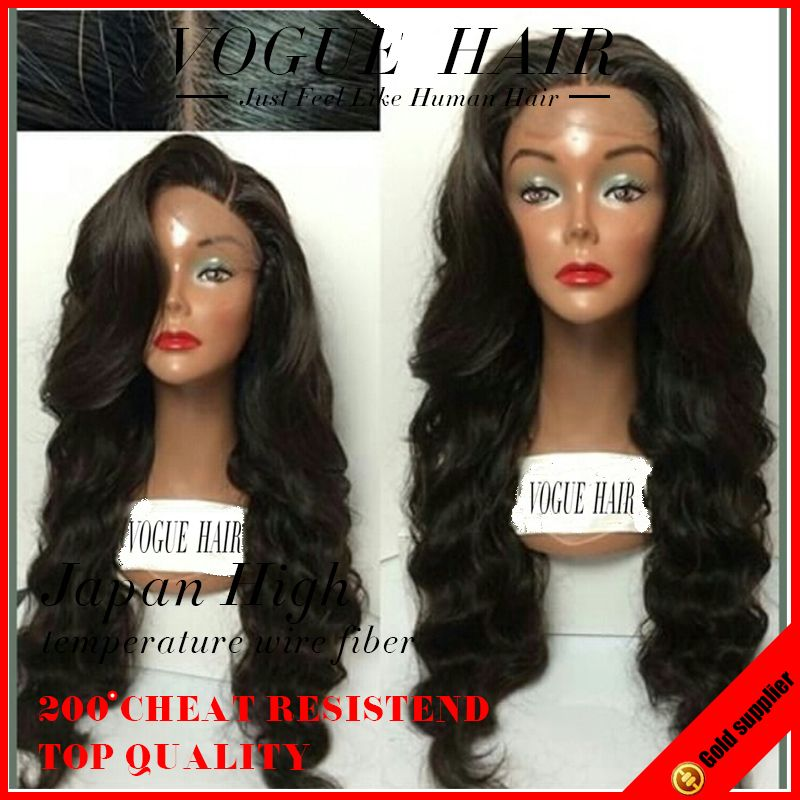Black Middle Part Wavy Synthetic Glue Less