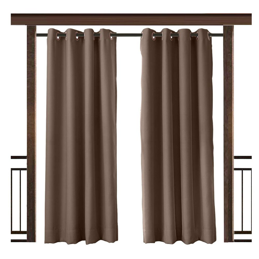 Ebay Sponsored Twopages Outdoor Curtain Waterproof Rustproof Grommet Drape Chocolate 84 W X 120 Drapes Grommet Outdoor Curtains Insulated Drapes