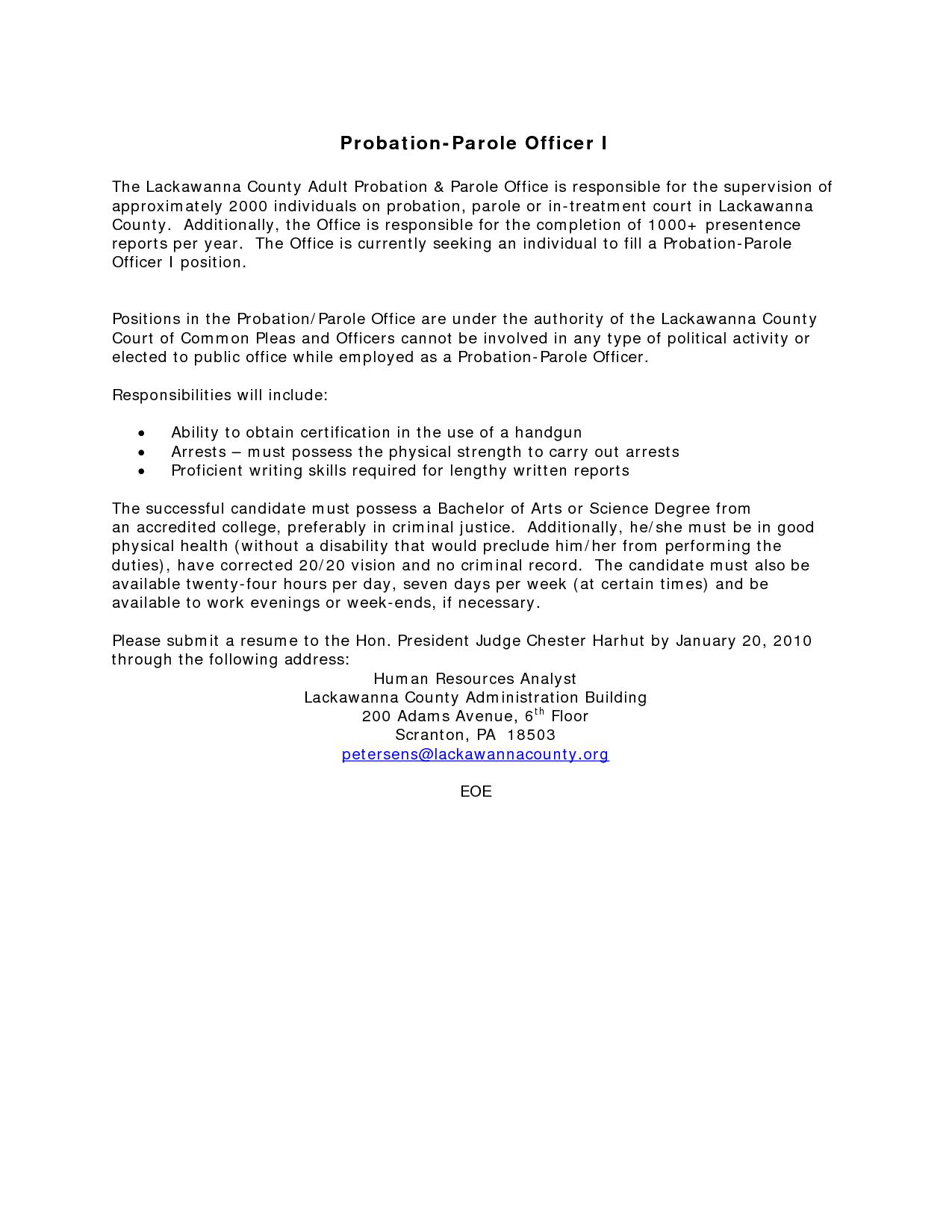 Federal probation officer cover letter Probation officer