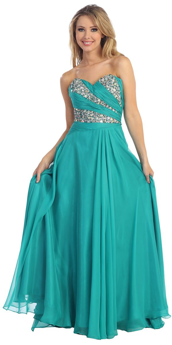 Jade Elegant Chiffon Rhinestone Beading Strapless Sweetheart Ruched Long Prom Gown LT5352-JD LT5352-JD $163.44 on www.PromDressLine.Com