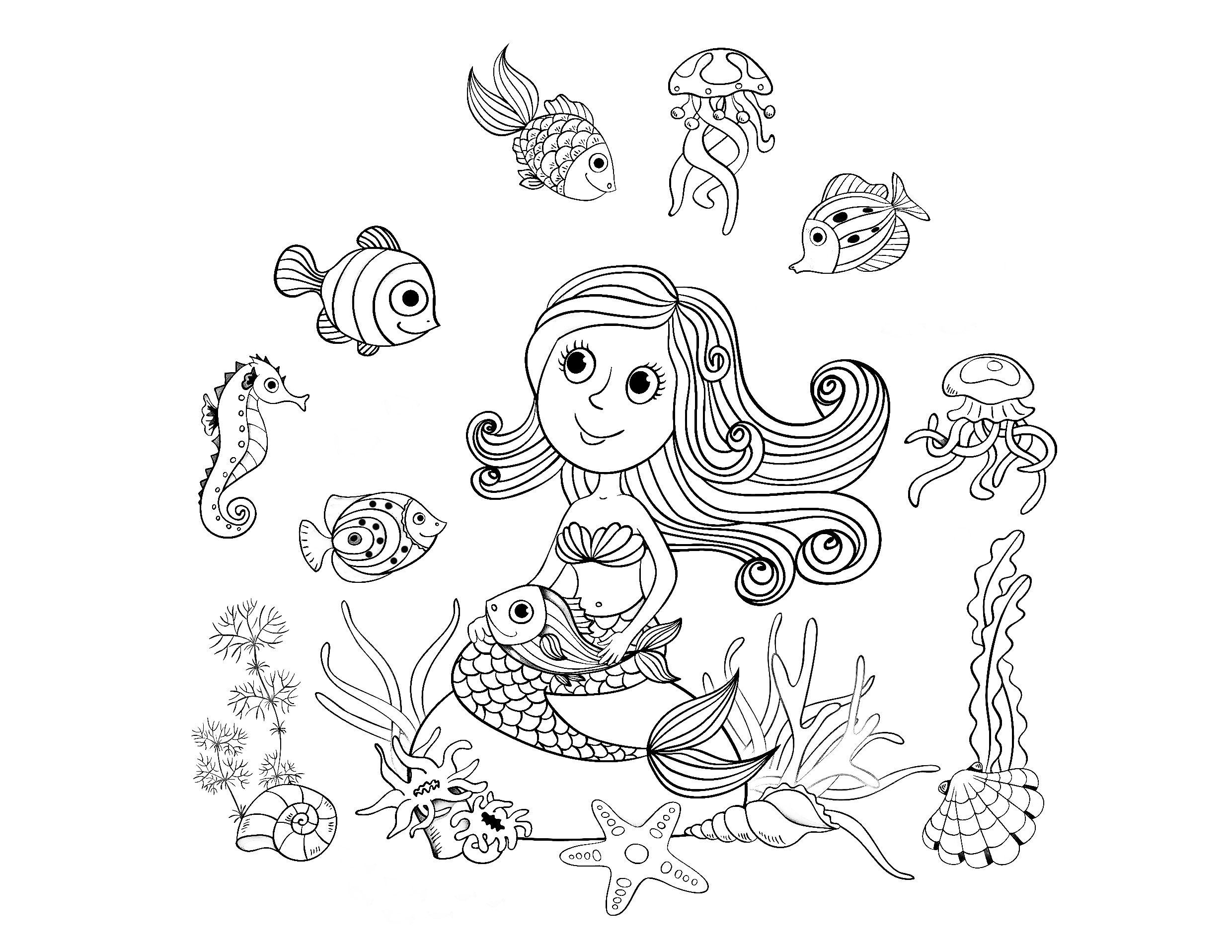 free coloring page coloring adult mermaid and fishes by amalga