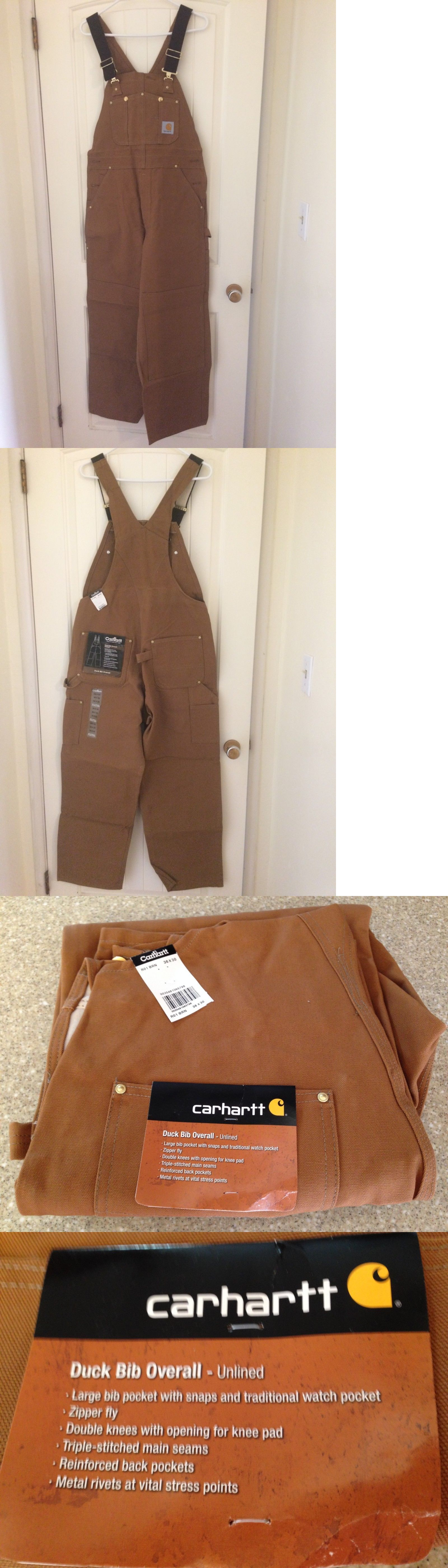 8b363014dd Coveralls and Jumpsuits 178962  Carhartt Duck Bib Overalls R01 Brown - 36 X  30 - New With Tags -  BUY IT NOW ONLY   45 on  eBay  coveralls  jumpsuits  ...
