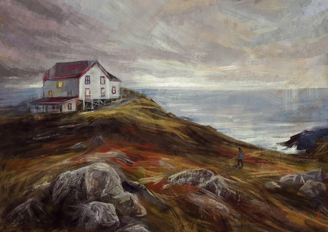 Ghost Story Landscape Art Print Original Acrylic Painting