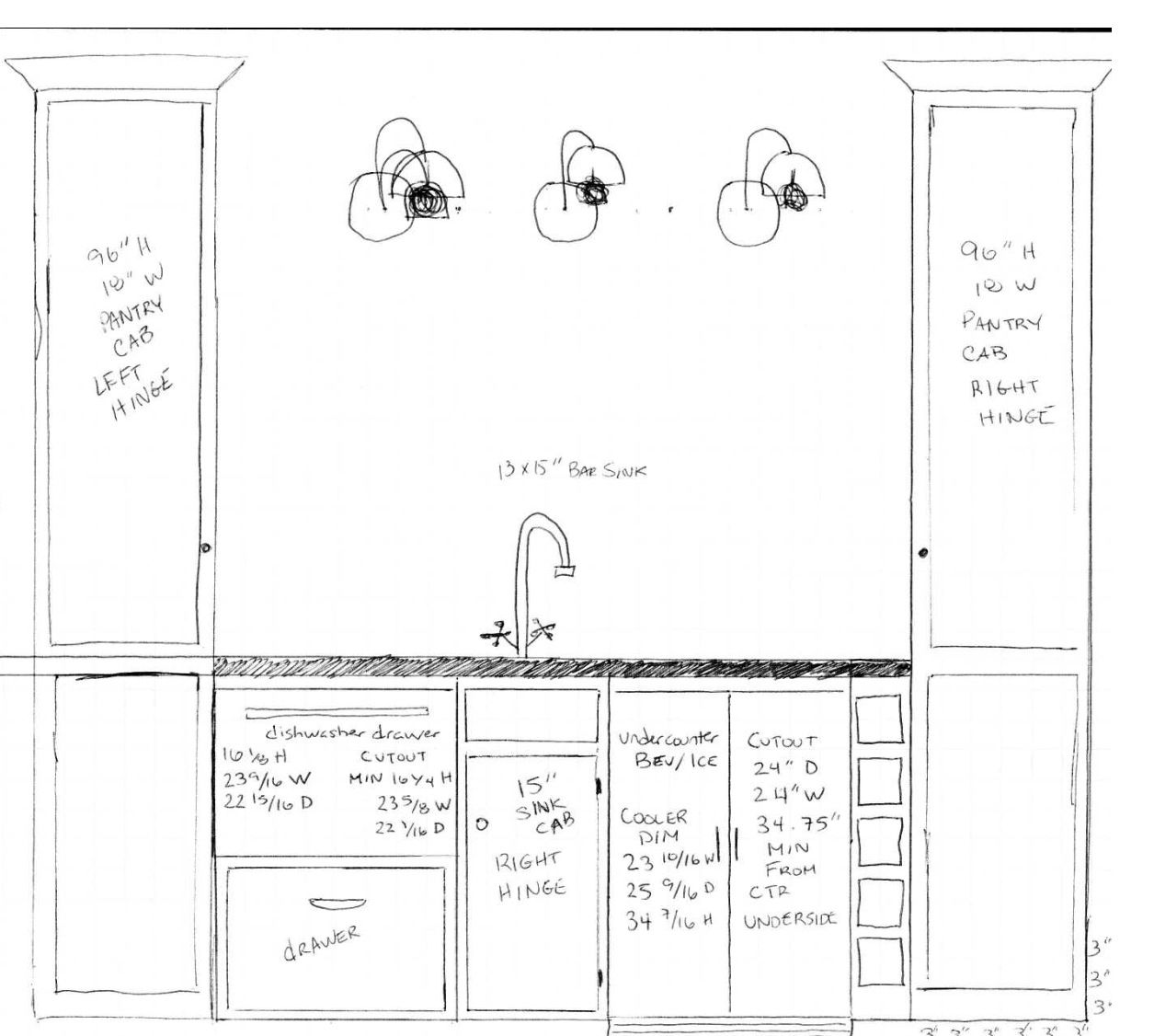 Kitchen Countertops Dimensions Wet Bar Layout My Sad Attempt At An Architectural