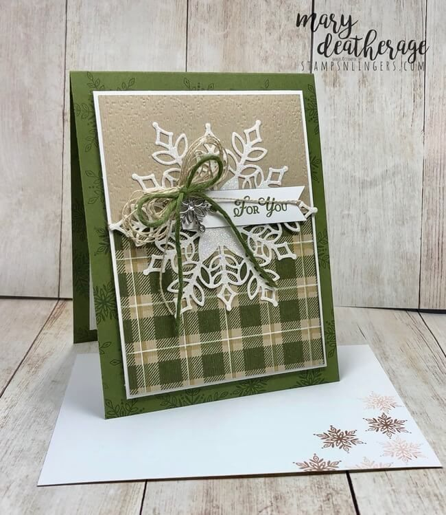 Stampin' Up! Glistening Snowflake on Buffalo Plaid | Stamps – n - Lingers #wintercards