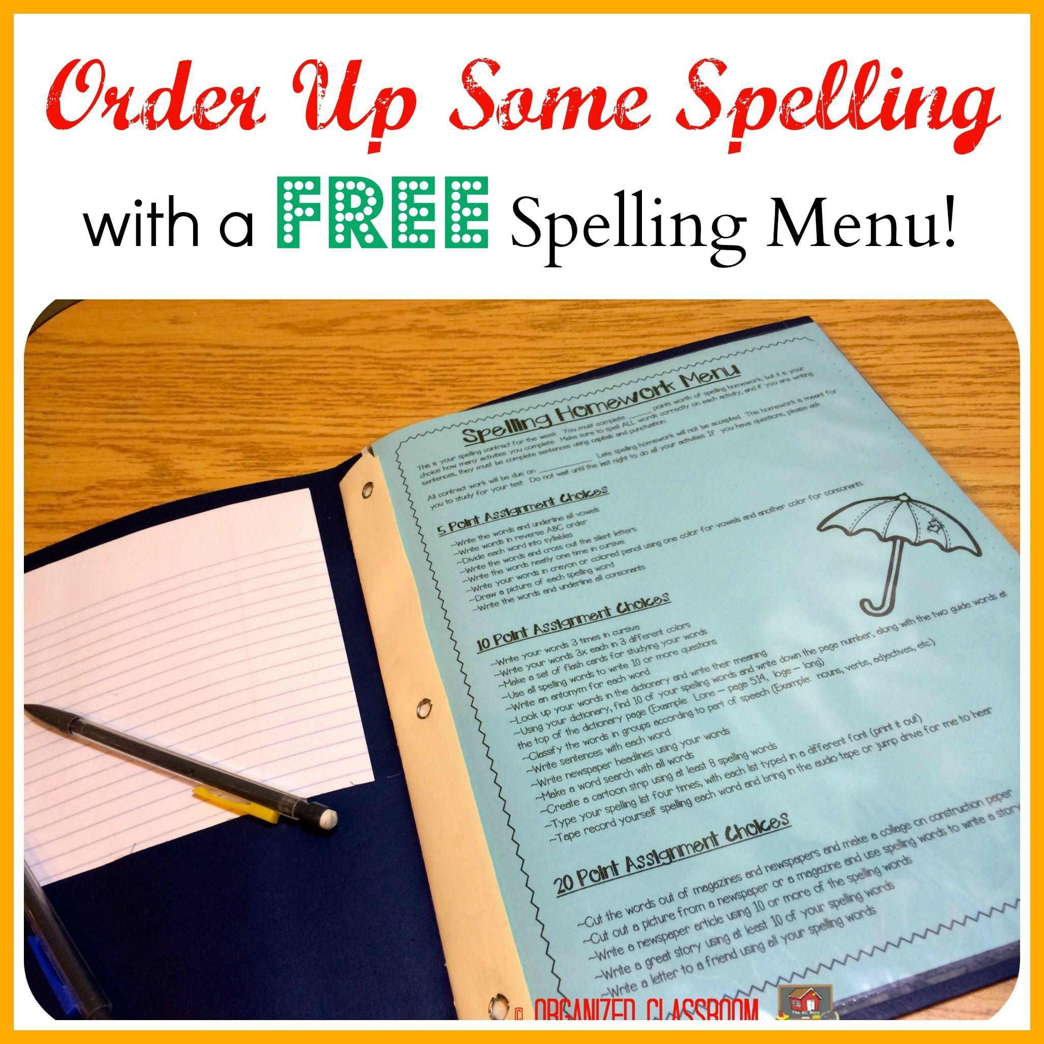 Order Up Some Spelling Freebie  Teaching spelling, Spelling