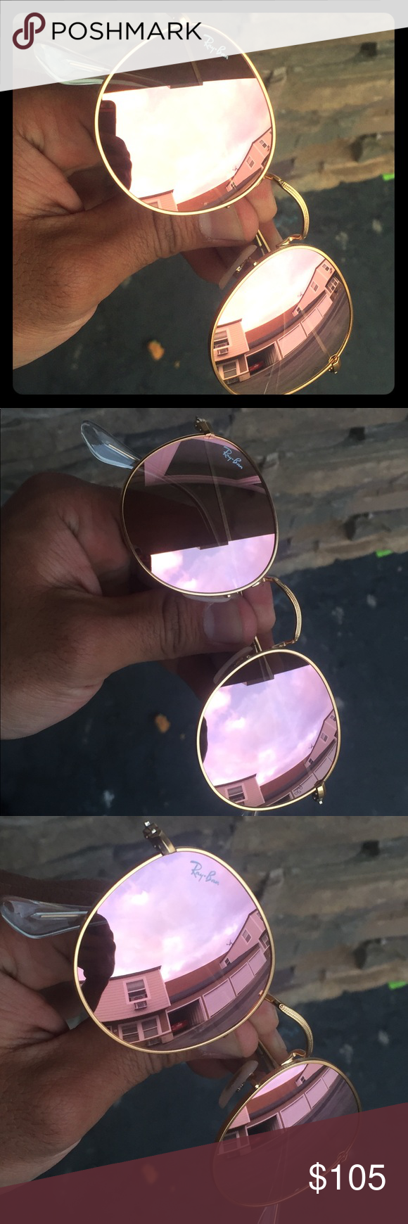 d1ec93dea0e73c Ray Ban RB3447 Round Metal 112 Z2 Pink Mirror 50mm Brand new and authentic Ray  Ban Round Metal 50mm. RB3447 112 Z2 50  21 3N. Matte Gold frame ...