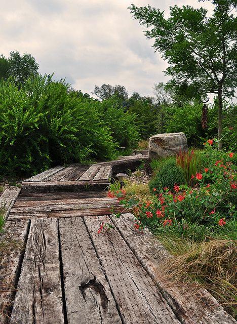 Railroad tie path | Garden railroad, Garden walkway, Lake