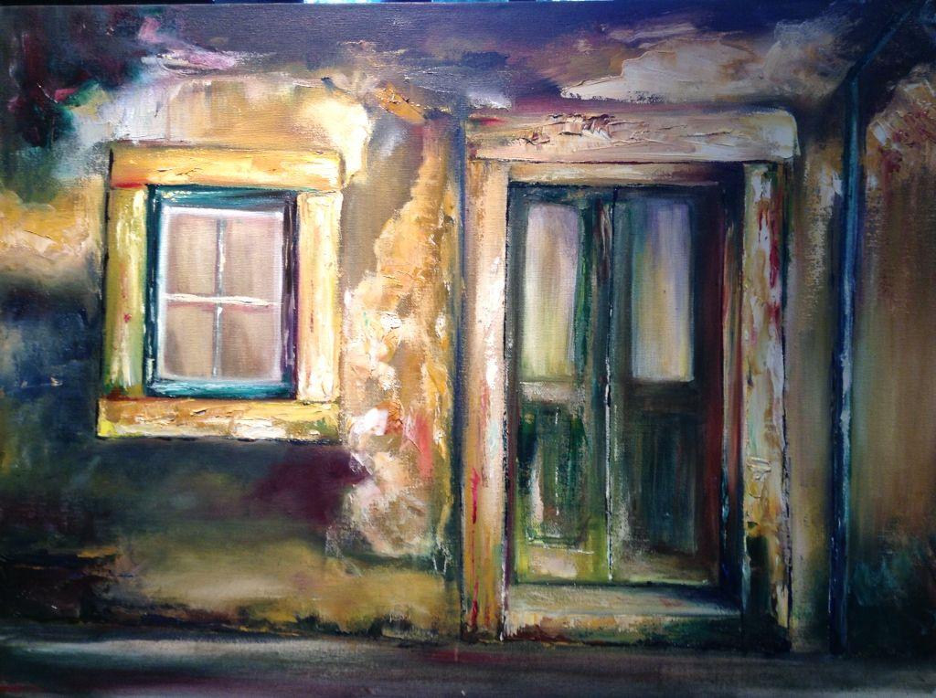 Abandoned door. Original oil painting by Georgina Michalandos.