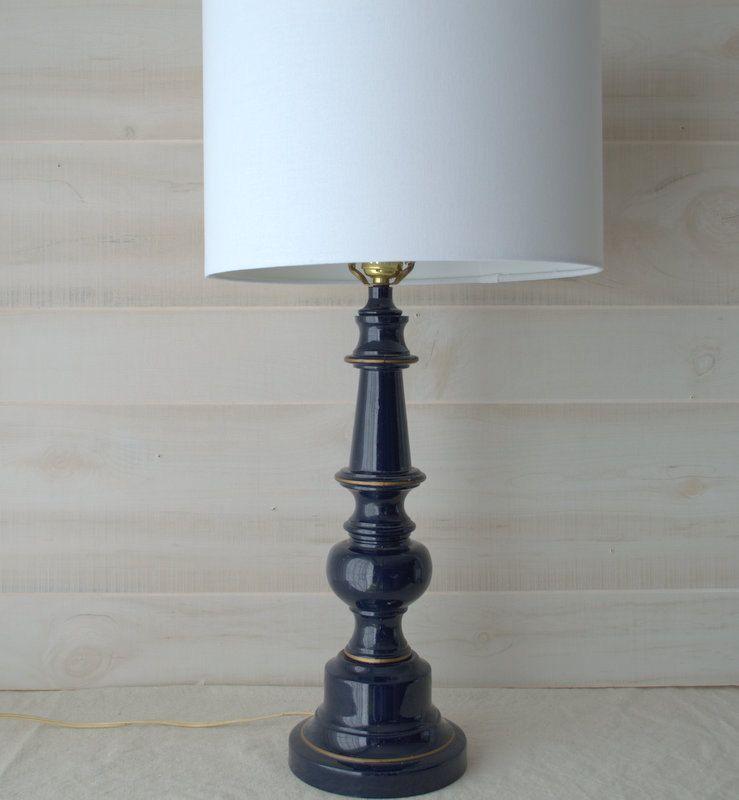 Navy Blue Enamel Candlestick Lamp Dark Blue And Gold Metal