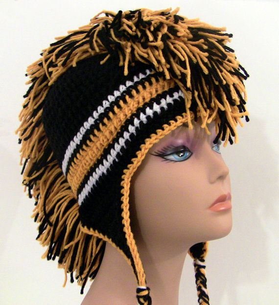 Black and Gold Mohawk Hat Crocheted Made by UnexpectedTreasure ...