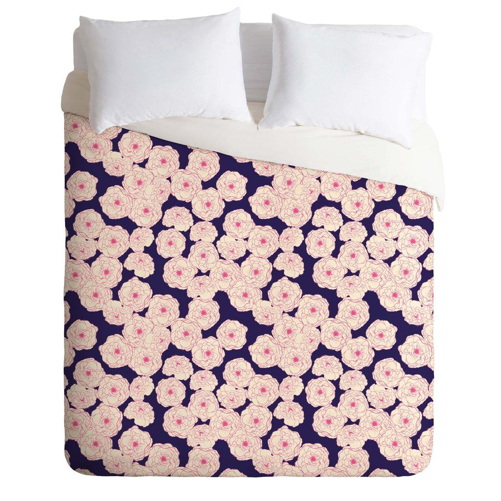 Joy Laforme Floral Sophistication In Navy Duvet Cover   DENY Designs Home Accessories