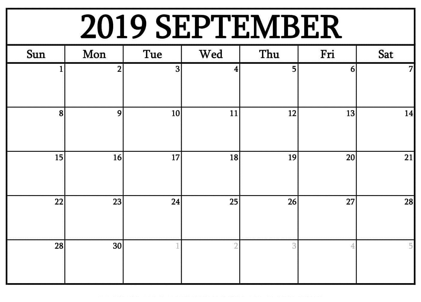 Printable September 2019 Blank Calendar Templates Free Print