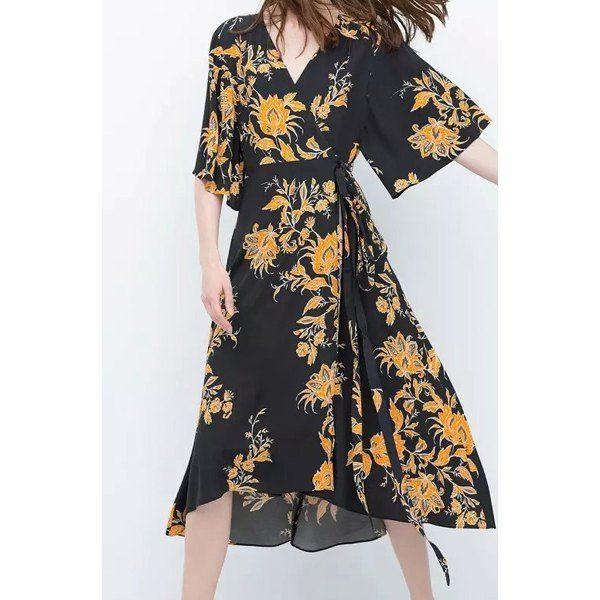 V-Neck Flower Pattern Lace-Up Half Sleeve Dress