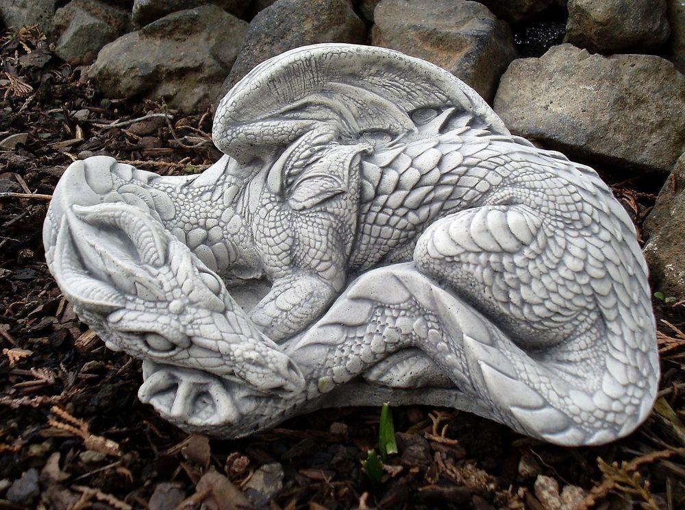 Drache Dragon Gothic Steinfigur Skulptur Garten Deko Massiv Frostsicher Steinfiguren Garten Steinfiguren Drachenfiguren