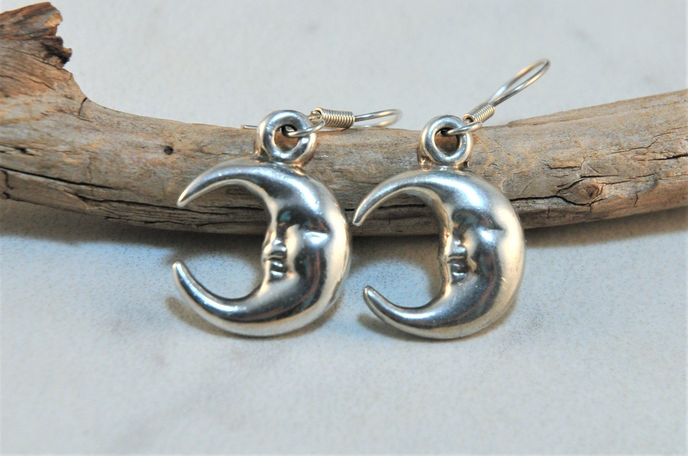 Half Crescent Moon With Face Tattoo: Vintage Sterling Silver Half Moon Face Earrings, Crescent