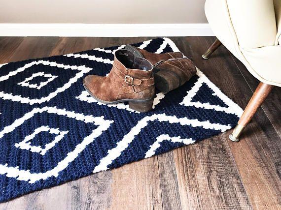 Crochet Pattern Crochet Rug Pattern Diamond Crochet Rug Pattern
