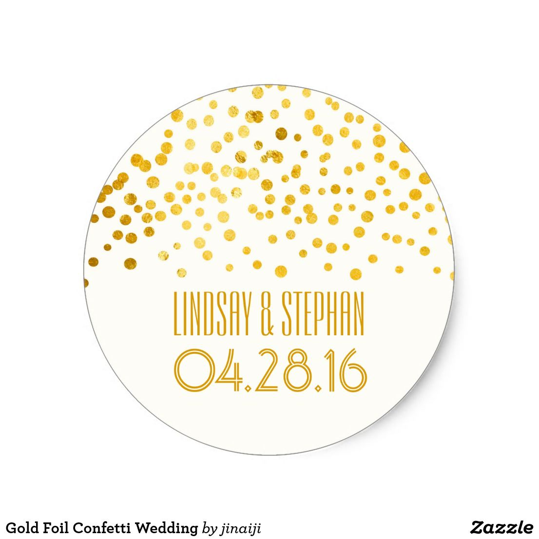 Gold Foil Confetti Wedding Classic Round Sticker Gold foil white ...