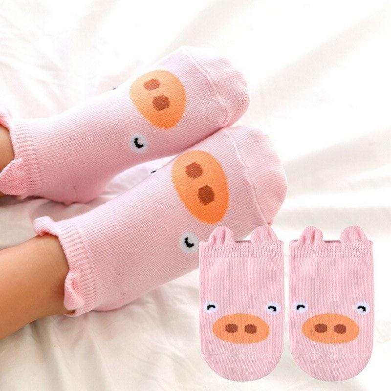 0-4T Cartoon Unisex Baby Girls Boys Toddler Socks Spring Fall Cotton Animals Socks (3 pairs)