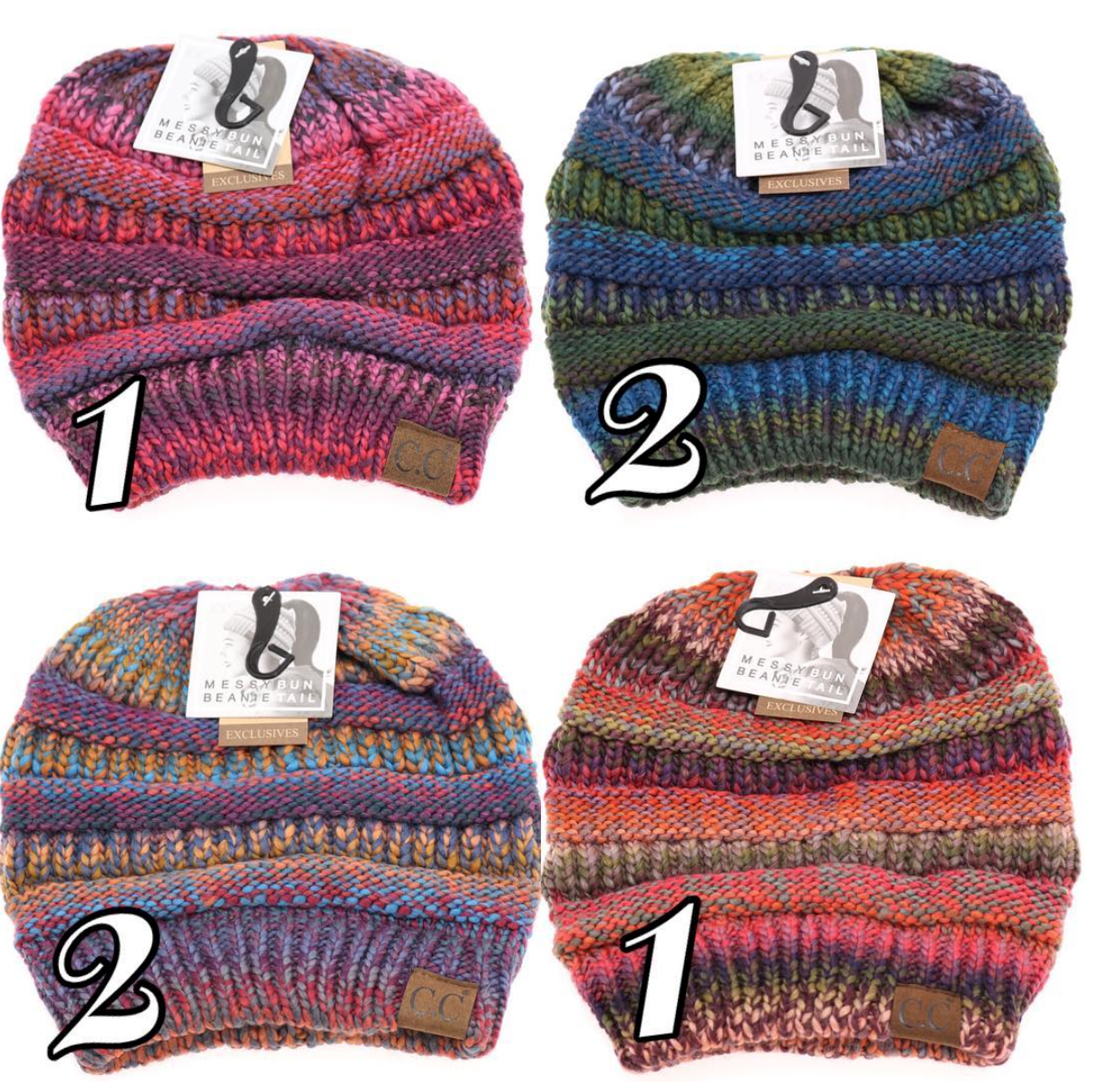 de1c3a01c7c Multicolor cable knit  ccbeanie messy bun high ponytail. Authentic.  Onesize.  sweetlystyledmarket  idahoboutique  onlineboutique  onlineshop   onlineshopping ...