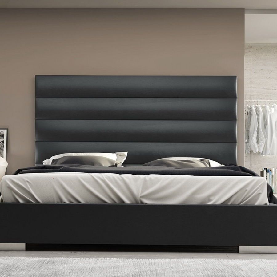 designs California king platform bed frame with tufted headboard ...