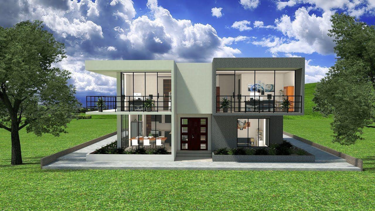 Dise os planos 3d casas 2 pisos minimalista sketchup for Modelos de casas minimalistas de dos plantas