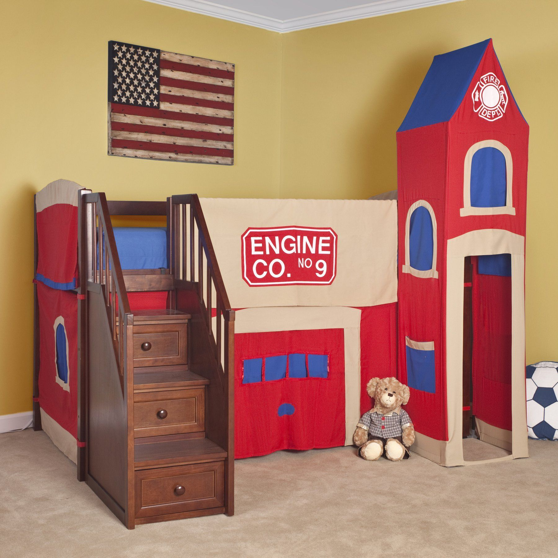 Pine loft bed with desk  NE Kids Schoolhouse Firehouse Loft Bed with Stairs  NFRST