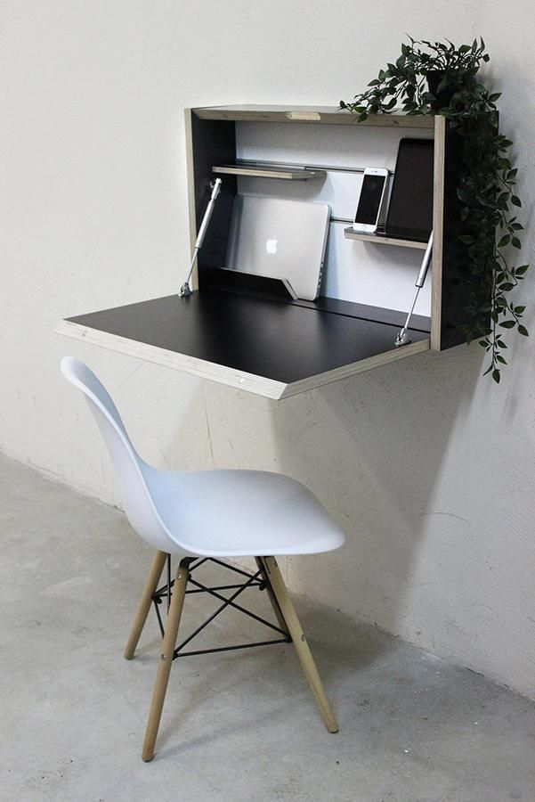 Wall mounted folding desk, ideal for creating a home office in a tiny space    #Office #officedecor #officedecoratingideas #smallhomeofficedecorating #homeofficeideas #homeofficedecoratingprojects #desksetup #workspacegoals #workspaceideas #creativeworkspace #homeoffice