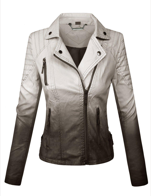BIADANI Women Faux Leather Moto Biker Detail Jacket at