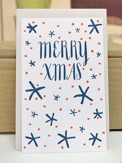 Cartes de vœux Letterpress : Merry Xmas . 4 illustrations assorties . www.Dioton.fr